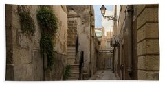 A Marble Staircase To Nowhere - Tiny Italian Lane In Syracuse Sicily Beach Sheet