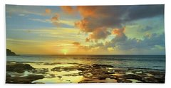 Beach Towel featuring the photograph A Marmalade Sky In Molokai by Tara Turner