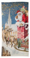 A Merry Christmas Vintage Greetings From Santa Claus And His Raindeer Beach Sheet
