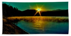 A Misty Sunrise On Priest Lake Beach Sheet by David Patterson