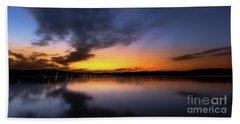 A Misty Sunset On Lake Lanier Beach Towel