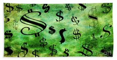 Beach Towel featuring the digital art A Money Storm by Andee Design