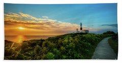 A Montauk Lighthouse Sunrise Beach Towel