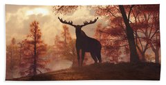 Beach Towel featuring the digital art A Moose In Fall by Daniel Eskridge