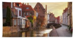 A Morning In Brugge Beach Towel by JR Photography