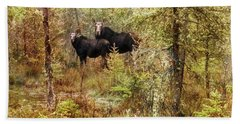 A Mother And Calf Moose. Beach Towel