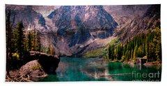 A Mountain Lake And Scenery Beach Towel