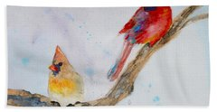 Beach Sheet featuring the painting A Musical Partnership by Beverley Harper Tinsley