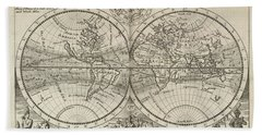 A New Map Of The Whole World With Trade Winds Herman Moll 1732 Beach Towel
