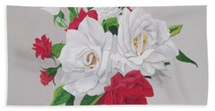 Beach Towel featuring the painting A New Rose Bouquet by Hilda and Jose Garrancho