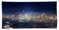 A Night In Los Angeles Beach Towel by Mark Andrew Thomas