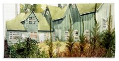 Watercolor Of An Old Wooden Barn Painted Green With Silo In The Sun Beach Towel