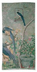 A Pair Of Magpie Jays  Vintage Wallpaper Beach Towel by John James Audubon