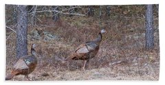 Beach Towel featuring the photograph A Pair Of Turkeys 1152 by Michael Peychich