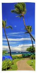 Beach Towel featuring the photograph A Path In Kaanapali by James Eddy