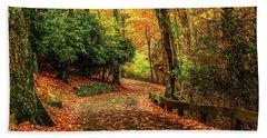 A Path Through Autumn Beach Towel by Darren Fisher