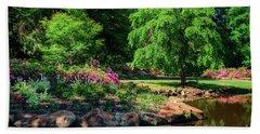 A Peaceful Feeling At The Azalea Pond Beach Sheet by Tamyra Ayles