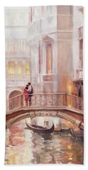 Beach Towel featuring the painting A Perfect Afternoon In Venice by Steve Henderson
