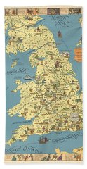 A Pictorial Chart Of English Literature - Illustrated Map - Pictorial Map - English Literature Beach Towel