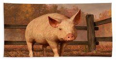 A Pig In Autumn Beach Towel