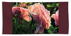 A Place In The Sun - Roses In Spring Beach Towel by Miriam Danar