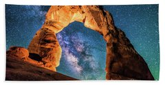A Portal To The Milky Way At Delicate Arch Beach Sheet