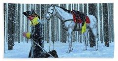 A Prayer In The Snow Beach Towel by Dave Luebbert