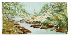 A Quiet Stream In Tasmania Beach Towel
