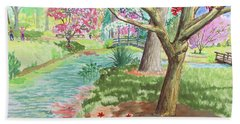 A Quiet Stroll In The Japanese Gardens Of Gibbs Gardens Beach Towel