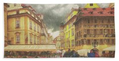 A Rainy Day In Prague Beach Towel