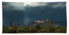 Beach Towel featuring the photograph A Rainy Evening In The Superstitions  by Saija Lehtonen