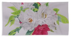 Beach Towel featuring the painting A Rose Bouquet by Hilda and Jose Garrancho