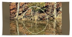 A Ring On The Pond In Fall Beach Towel