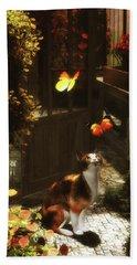 A Romantic Cat Loves Butterflies Beach Sheet