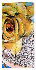 Beach Towel featuring the mixed media A Rose By Any Other Name by Terry Rowe