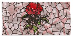 A Rose On Stained Glass Beach Towel by John M Bailey