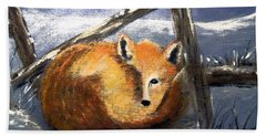 Beach Towel featuring the painting A Safe Place To Sleep by Carol Grimes