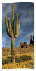A Saguaro In Spring Beach Towel by James Eddy