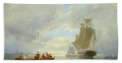 A Ship Becalmed And A Rowing Boat  Beach Towel