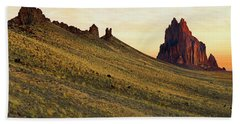 Beach Sheet featuring the photograph A Shiprock Sunrise - New Mexico - Landscape by Jason Politte