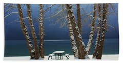 A Simple Winter Scene Beach Towel by Sean Sarsfield