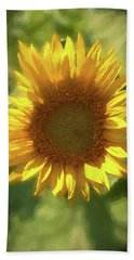A Single Sunflower Showing It's Beautiful Yellow Color Beach Towel