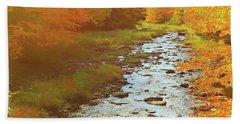 A Small Stream Bright Fall Color. Beach Towel