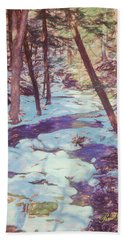 A Small Stream Meandering Through Winter Landscape. Beach Sheet