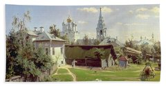 A Small Yard In Moscow Beach Towel by Vasilij Dmitrievich Polenov
