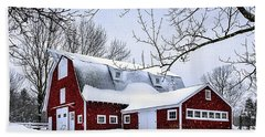 A Snowy Day At Grey Ledge Farm Beach Towel