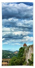 Beach Towel featuring the photograph A Spring Day At The Roman Walls Of Tarragona by Eduardo Jose Accorinti
