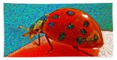 A Spring Lady Bug Beach Sheet