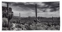 Beach Towel featuring the photograph A Morning Hike In The Superstition In Black And White  by Saija Lehtonen
