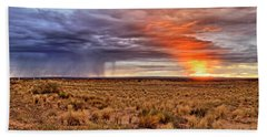 Beach Towel featuring the photograph A Stormy New Mexico Sunset - Storm - Landscape by Jason Politte